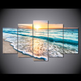 HDは海景の日没浜の砂のグループの絵画キャンバスの版画室の装飾プリントポスター映像のキャンバスMc058を印刷した