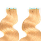人間の毛髪の拡張ブラジルのバージンの直毛10PCS付着力PUの皮のWeft継ぎ目が無い毛の拡張のRemy PUテープ
