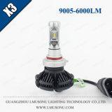 Accesorio auto auto de la lámpara 25W 6000lm de las linternas LED de la linterna 9005 LED del coche de Lmusonu X3