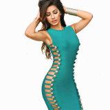 Sleeveless Kleid-Dame-Kleid-rundes Stutzen-Verband-Kleid
