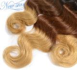 Unprocessed пачки человеческих волос объемной волны Ombre