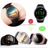 Het ronde Slimme Horloge van Bluetooth van het Polshorloge van het Scherm met het Tarief van het Hart K18