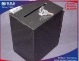 Caixa preta branca acrílica da doação da cédula
