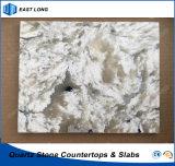 Superfície contínua de pedra de quartzo para o material de construção da decoração com padrões do GV (cores de mármore)