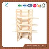 Personalizados 3 niveles plegable Panel Estantería de madera al por menor