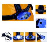 Phare léger du type 1W DEL de casque avec 2 le petit côté caisse de batterie de DEL et de sac à dos