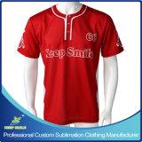 顧客用昇華印刷3枚のボタンの野球のワイシャツ