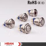Colore tre LED dell'UL RoHS 25mm di TUV che aggancia l'interruttore di pulsante dell'acciaio inossidabile