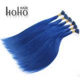 Hoogste Rang Uitbreiding van het Menselijke Haar van het Uiteinde van de Spijker van de Kleur van 22 Duim de Blauwe