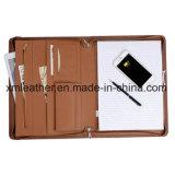 Zip cuir PU Tablet titulaire du portefeuille de dossier de format A4 avec Powerbank