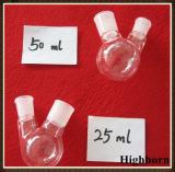 Freier Quarz-Glas-oder des Borosilicat-Glas-zwei Stutzen-Kolben