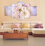 桜のホーム装飾のキャンバスの絵画壁のアール・デコ塗る新しく熱い5つのパネルHDの現代花は組み立てた