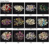 혼합 다이아몬드 모조 다이아몬드 소형 구슬 교차하는 원석 원형 3D 못 예술 반짝임  새로운 훈장 (NR-16)는 도착한다 보석함 결정 못