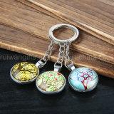 Metal redondo al por mayor Keychain, vidrio cristalino Keychain, manera Keychains de la promoción para los recuerdos