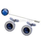 Tirante Zircon VAGULA Saphire Round Pin e o link do manguito de cristal azul 732