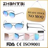 Óculos de sol espelhados forma de nenhumas mulheres de MOQ com frame da liga (HFF0002)