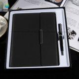 Geschäfts-gesetztes Tagebuch-Notizbuch-und Feder-Geschenk-Set mit Usbpu Leder-Deckel-Leitprogramm-Notizbuch