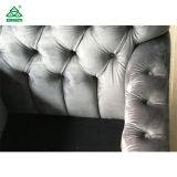 현대 회색 분쇄된 우단 소파 3 Seater/직물 실내 장식품 소파 오크재