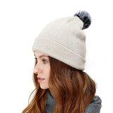 Do Knit bonito chapéu puro do Beanie da caxemira POM das mulheres feitas sob encomenda com POM