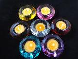 Castiçal de cristal do diamante, castiçal romântico de cristal de sete cores, aniversário/vela do casamento ajustada/muitas opcionais