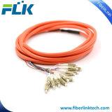 Bunchy束のMutilコア光ファイバ端末増設機構のピグテールシングルモードマルチモードSc/LC/FC/St/MTRJ/E2000 Upc/APC 12fibers