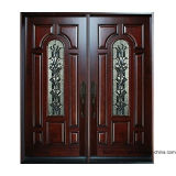 Sidelight를 가진 두 배 Wood Time Tunnel Exterior Front Entry Door