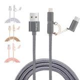 cavo Braided di nylon del USB del telefono 2.1A 3 in-1 per il Tipo-c micro USB del lampo