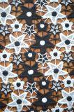 Nuovo tessuto del merletto del poliestere di stile con il reticolo tagliente di Embroidry della stella per l'indumento e la tessile domestica