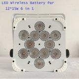 12*15W 6in1 Rgbaw UV 배터리 전원을 사용하는 무선 LED 동위 빛