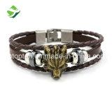 Type de punk de manchette de bracelet de bracelet de cuir de charme des femmes des hommes de mode de bijou