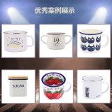 tazza d'acciaio smaltata blu della tazza di caffè del fuoco di accampamento della maniglia della cavità di Printied di marchio di 7cm-12cm