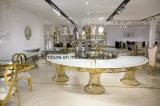 Goldener Stahlrahmen-halber Mond-Hochzeits-Bankett-Hochzeits-Tisch
