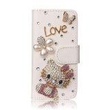 Caixa bonito do telefone do couro do cartão da vaquinha do olá! do diamante luxuoso de Bling para o iPhone 7/7plus/8/8plus