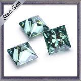 Loose Moissanite Stone quadrato verde di colore 7*7mm della principessa Cut