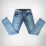 Forma nova calças de brim de lavagem quebradas do homem com abertura especial do pé (HDMJ0004-17)