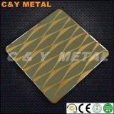 Strato decorativo dell'acciaio inossidabile 304 con lo specchio ed i colori parziali Etchting PVD