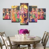 Palillo del cuadro de la pintura de la lona de la impresión de HD en el señor Krishna Painting Vishnu del mito de la India del panel de la pared 5 para la decoración del hogar de la sala de estar