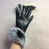 Красивый дизайн моды Rex кролик мех зимние кожаные перчатки