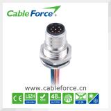 Connecteur mâle de support de panneau de Pin M12 8 pour l'automatisation d'usine avec le fil