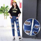 Jeans de qualité avec le filet de pêche spécial pour Madame (HDLJ0041-17)