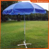 Aluminiumpole-Streifen-Strand-Regenschirm mit silberner Beschichtung