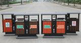 Cubo de la basura al aire libre con la madera plástica hecha en China (HW-102)