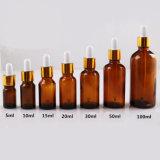 Huile essentielle bouteille en verre avec compte-gouttes de verre aluminium