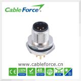 M12 3pin die zet het Mannelijke Comité het Achtergedeelte van de Schakelaar van PCB van de Contactdoos IP67 met de Certificatie van Ce voor de Automatisering van de Industrie wordt vastgemaakt op