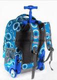 Mochila com rodas azuis da escola, Bolsa para laptop com rolo Travel Bookbag Shoulder Trolley