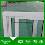 Окно PVC одиночного стеклянного замка касания сползая с деревянной отделкой цвета