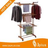 Ciao-Qualità gancio della cremagliera dei 3 vestiti di strato con le rotelle per i vestiti di secchezza Jp-Cr300W