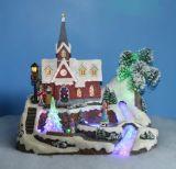 Décoration de Noël de résine 13''conduit Scène de village avec Flying Rennes, huit chansons de Noël l'adaptateur inclus
