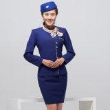 Frauen-Flugbegleiter Royalblue Pilotfußleisten-konstantes Kleid kundenspezifisch anfertigen
