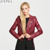 Женщины PU европейской куртки мотоцикла параграфа краткости кожаный куртки PU американца кожаный